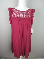 As You Wish Junior's size XS Cranberry Crochet Lace Ruffle Girly Dress NWT $47