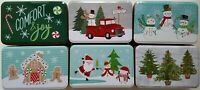 Lot of 6 Rectangular Christmas Holiday Cookie Tins Candy Treat Gift Boxes SMALL
