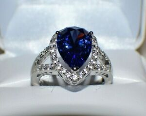 7.67 ct PREMIUM AAA TANZANITE & 36 DIAMONDS WEDDING GYPSY 14K WHITE GOLD FILL 7