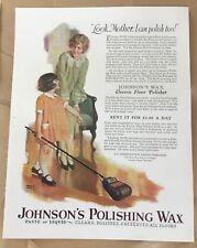 Johnson's Polishing Wax ad 1927 vintage print 20s art illustration Andrew Loomis