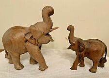"Elephant Figurines Carved Wood Wooden Mom And Baby Trunk up 7"" & 5"""