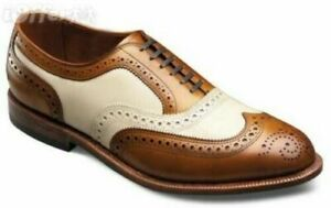 Shoes to Punta Brogue Style Oxford Genuine Leather Brown Clear and White Handmade