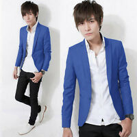 Mens Stylish Slim Fit Casual Formal One Button Blazer Coat Jackets Suit Outwear