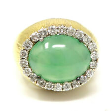 NYJEWEL 18k Yellow Gold 1ct Diamond Jade Ring