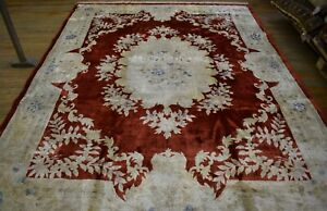 Rare Gorgeous Art-Deco Genuine Chinese Silk Rug 8Ft x 10Ft Free Shipping