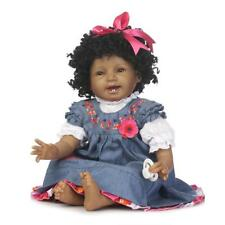"Reborn Biracial Doll Newborn African Baby Soft Silicone Girl Curly Hair Bebe 22"""