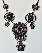 Blumenkette Halskette Collier Blüten Ornamente Gothic Strass klar schwarz