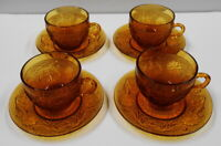 INDIANA GLASS DARK AMBER 4 CUP AND SAUCER SETS