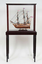 """Display Case Cabinet 26.5"""" with Legs Wood,Plexiglass for Tall Ship Yacht Boats"""