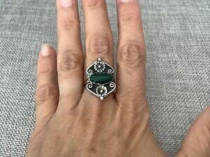 Vintage Southwestern Sterling Silver Malachite Flower Bud Beaded Ring Sz 8