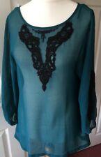 Wallis Verde Chiffon Blusa Top shirt S nero con perline in pizzo con motivi ANTERIORE
