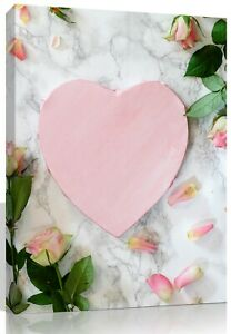 Love Heart Pink Roses Canvas Hand Made Pine Frame No MDF Personalised