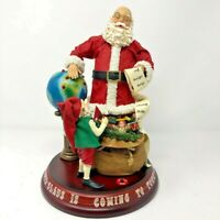 Clothtique Santa Claus Plotting His Course Christmas Figurine Music Lights VIDEO