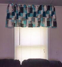 "Summer Teal Black Grey Patchwork 42""W 15""L Window Curtain Valance ideas  fabric"