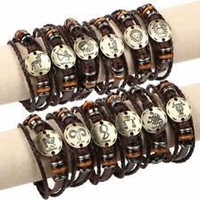 Fashion Women Men 12Constellation Zodiac Cuff Bangle Multilayer Leather Bracelet