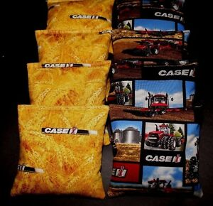 Red CASE IH Tractor Country fabric harvest 8  ACA Regulation Corn Hole Game Bags