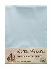 2 x Baby Pram/Crib/ Moses Basket  Flat Sheet 100% Luxury Cotton Blue