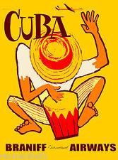 Bongo Drums Cuba Cuban Caribbean Island Vintage Travel Advertisement Art Poster