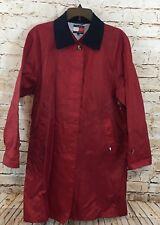 Tommy Hilfiger Windbreaker rain coat Jacket Womens Medium vtg red long logo E7