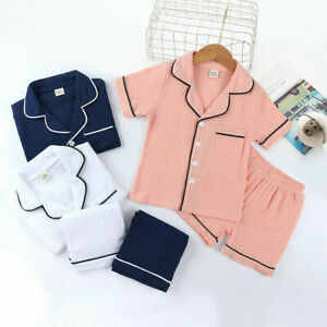 Boys Girls Kids Children Cotton Pyjamas Pjs Shorts Set Home Nightwear 2-9 Years