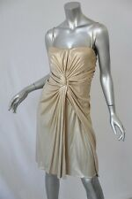 CHRISTIAN DIOR BOUTIQUE Metallic Gold Bustier Strappy/STRAPLESS GODDESS Dress 8