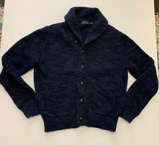 POLO RALPH LAUREN Cardigan Sweater Large Shawl Collar Navy Blue Cotton mens