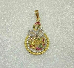 Indian Lord God Ganesha Cubic Zirconia Ruby Gold Plated Locket Pendant Jewelry