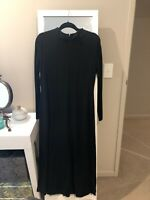 Veronika Maine Black Stretch Jersey Winter Dress Size 14