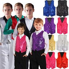 Unisex Sequin Vest Waistcoat Dance Party Show Costume Mens Womens Boys Girls