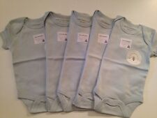 Burts Bees Organic Cotton Baby Boys 5 Pack Bodysuits Size PREEMIE Layette Blue