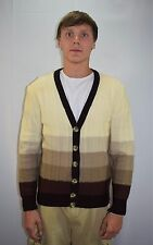 Vintage 70's OLEG CASSINI Ivory Tan Brown Stripe Cardigan Sweater Size L - Italy