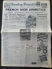 WW2 Newspaper June 23 1940 French Sign Armistice Sunday Dispatch Scharnhorst WAR