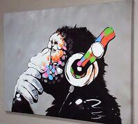 BANKSY DJ MONKEY GORILLA CHIMP  Canvas Wall Art Print. Various Sizes -