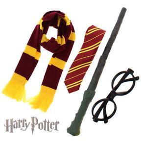 SCHOOL BOY WIZARD Long Scarf, Tie, Magic Wand, Glasses, Hat 4 PIECE 5 PIECE SET