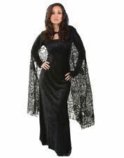 "Black 55"" Sheer Spiderweb Cape Vampire Halloween Costume - Gothic"