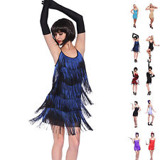 Charleston Flapper Fringe Fancy Dress Sequin Tassel Party Costume Outfit 20s 30s