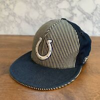 Fitted 7 5/8 - Indianapolis Colts Reebok Official NFL Hat Cap Striped Jean Style