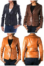 Hip Length Casual Coats & Jackets Leather Blazer for Women