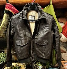Vintage Pack Products inc. Type A-2 Brown Leather lined bomber jacket men's 42