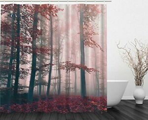 Shower Curtain Mold Mildew Soap Resistant Plastic Hooks Forest Foggy Wild Jungle