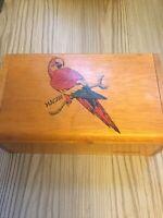 Vintage Guyana Macaw Wooden Keepsake Box