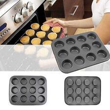 Metal Nonstick 12 Cups Muffin Cupcake Cake Bakeware Pan Tray Tin Mould Mold
