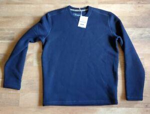 Smartwool Men's Hudson Trail Fleece Crew Neck Sweater NAVY wool blend INSULATING