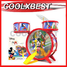 Disney Mickey Mouse Acoustic Jazz Drum Kit Set W Stool Kids Band Music Toy