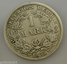 1 Mark Silbermünze dt. Kaiserreich 1875 F - großer Adler