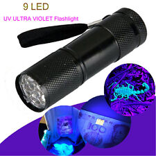 Mini Black 9 LED Aluminum UV Ultra Violet Flashlight Blacklight Torch Light Lamp