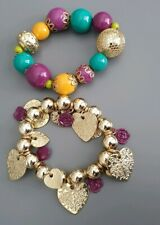 2 Accessory Bracelets Teal, Purple, Gold, Orange NEW
