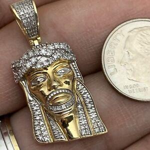 Designer 10K Two Tone Gold Genuine 0.83TCW Diamond Jesus Pendant 30MM By AG