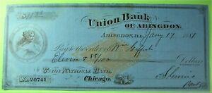 Beautiful check Union Bank of Abingdon, IL nice vignette of women in porthole.