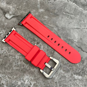 For Apple watch SE 6 5 4 44mm Heavy Duty RED Rubber Silicone watch Strap Band